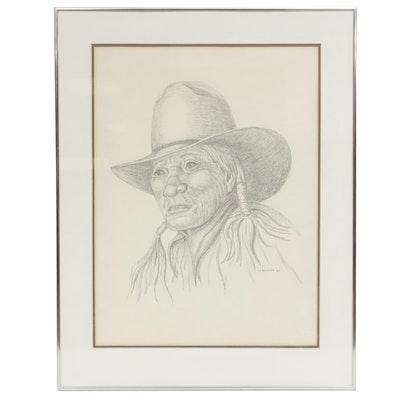 Jan L. Gauthier Southwestern Portrait Graphite Drawing