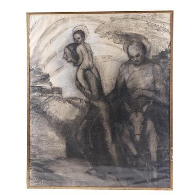 "Vivian Doyle Fitzgibbon Charcoal Drawing ""Flight into Egypt"