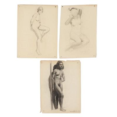Xavier J. Barile Charcoal Figural Studies of Female Nudes