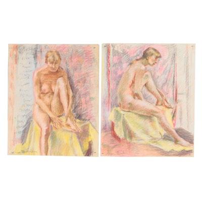 Xavier J. Barile Pastel Figural Studies