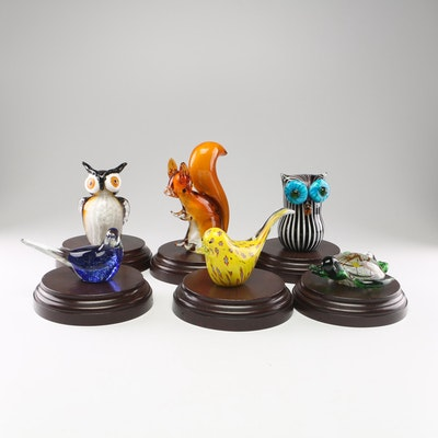 Animal Art Glass Sculpture Figurines on Wooden Bases