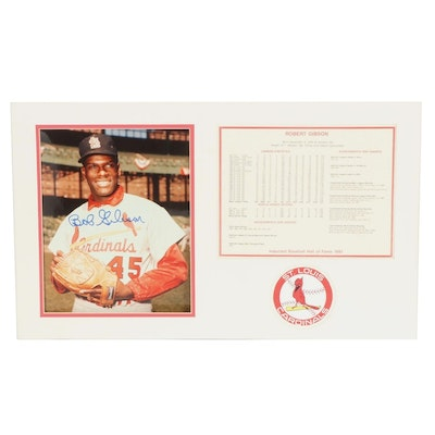 Bob Gibson Autographed Photo in Matted Display with Player Achievements