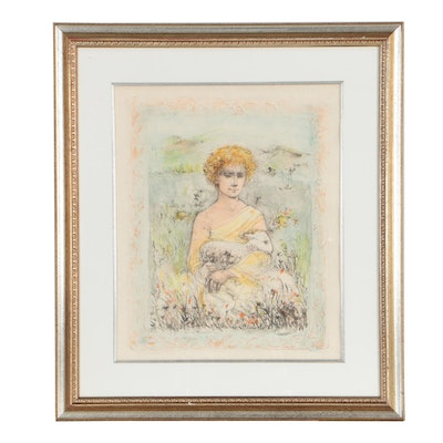 "Edna Hibel Lithograph ""David the Shepherd"""