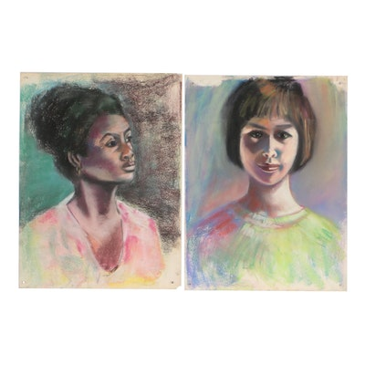 Mid-Late 20th Century Portrait Pastel Drawings