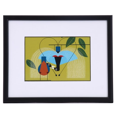 """Offset Lithograph After Charley Harper """"Provocative Plumage"""""""
