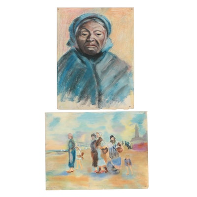 Mid-Late 20th Century Figural Pastel Drawings