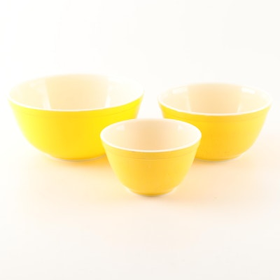 "Pyrex ""Bright Yellow"" Nested Mixing Bowls"