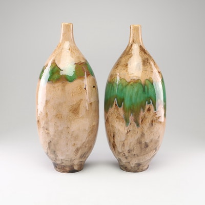Pair of Ceramic Bud Vases with Glazed Finish