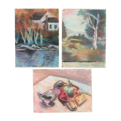 Mid-Late 20th Century Pastel Drawings of Still Life and Landscapes