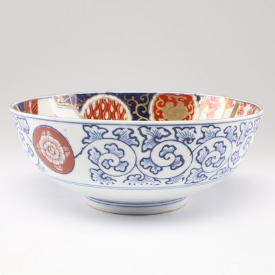 Japanese Imari Porcelain Bowl with Scroll and Fans