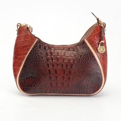 Brahmin Tri-Color Collection Crocodile Embossed Leather Shoulder Bag