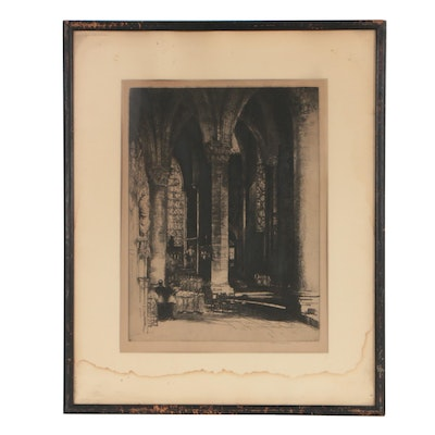 """Donald Shaw MacLaughlan 1926 Etching """"The Interior of Chartres"""""""