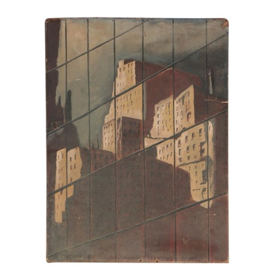 Wray 1958 Oil Painting of Architectural Composition