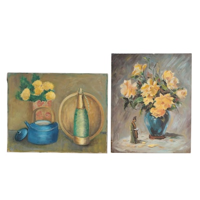 Late 20th Century Still Life Oil Paintings