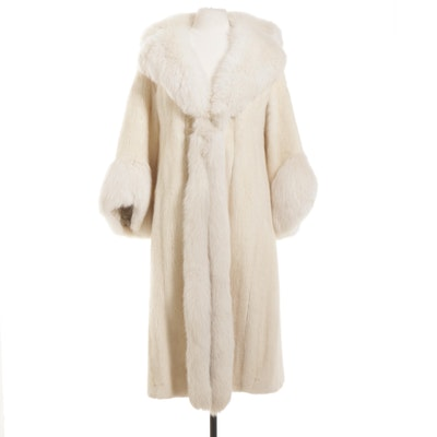 White Mink Fur Coat with Fox Fur Trim, Vintage