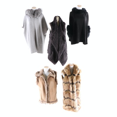 Rabbit Fur and Cashmere Long Vest, Tasha Polizzi Faux Fur Vest, and More