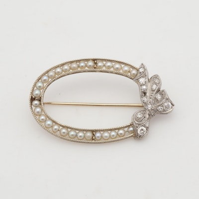 Edwardian Gold-Plated Diamond and Seed Pearl Oval Brooch, Circa 1910