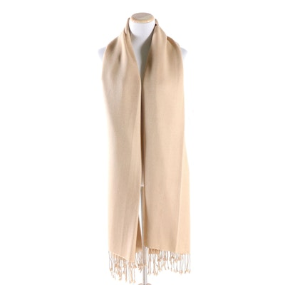 Henri Bendel New York Camel Cashmere Silk Blend Wrap with Hand-Knotted Fringe