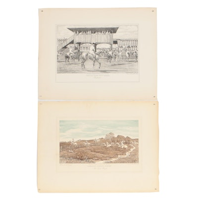 """Edward King Lithograph and Etching """"The First Flight"""" and """"Rochester"""""""