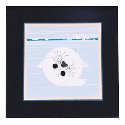 "Charley Harper Serigraph ""Whitecoat"""