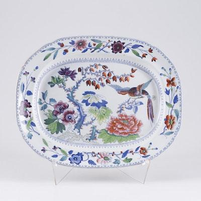 Davenport Hand-Painted Stone China Platter, Mid 19th Century
