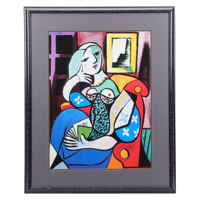 """Offset Lithograph after Pablo Picasso """"Woman with Book"""""""