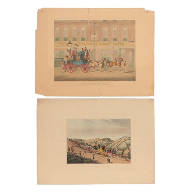Late 20th Century Hand-Colored Etching and Collotype of Carriage Scenes