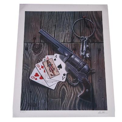 """David Mann Offset Lithograph """"Dead Man's Hand"""""""