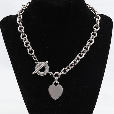 Tiffany & Co Sterling Heart Charm and Toggle Sterling Silver Necklace