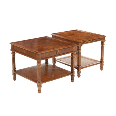 Pair of Drexel Heritage Burl Wood End Tables, Mid to Late 20th Century