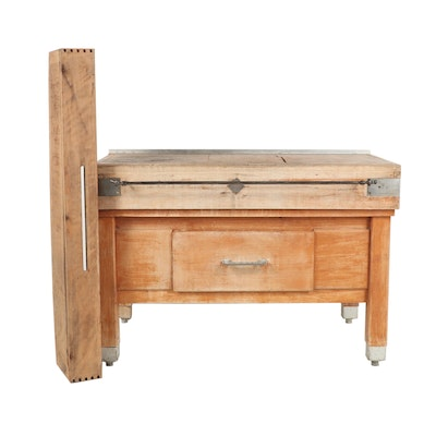 French Commercial Wooden Butcher Block, Mid-19th Century and Later