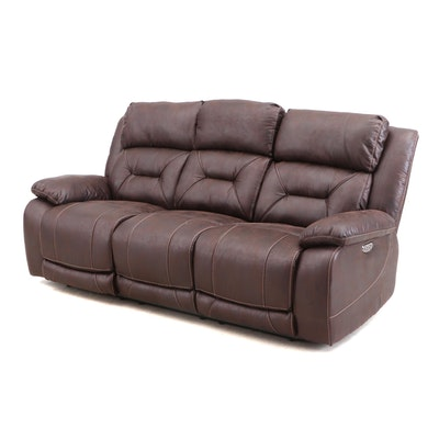 Aria Power Recliner Sofa Bonded Leather, Contemporary