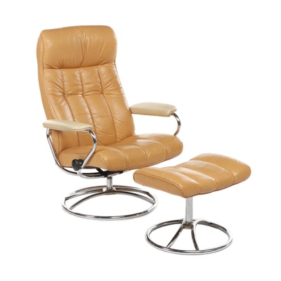 "Ekornes ""Stressless"" Tan Leather Lounge Chair & Ottoman, Mid Century Modern"