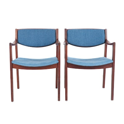 Gunlocke Mid Century Office Chairs with Denim Upholstery