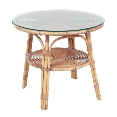 Bamboo and Rattan Round Accent Table, Mid to Late 20th Century