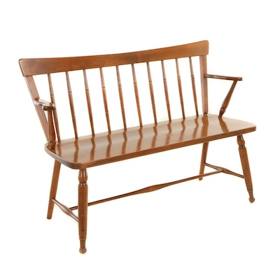 "Baumritter Corp., Windsor Style Maple ""Ethan Allen"" Bench, Mid/Late 20th Century"