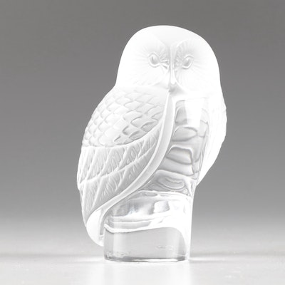 Lalique Frosted Glass Owl