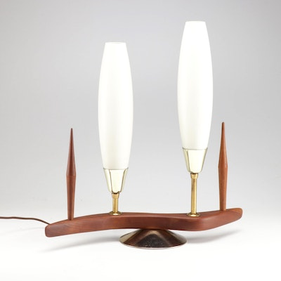Danish Modern Teak Two Light TV Lamp, Mid-20th Century