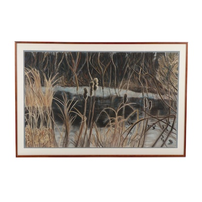 """Joyce Novak Pastel Drawing """"The Swamp with Cattails"""""""