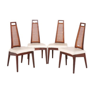 Mid Century Modern Cane Back Dining Chairs, Set of Four
