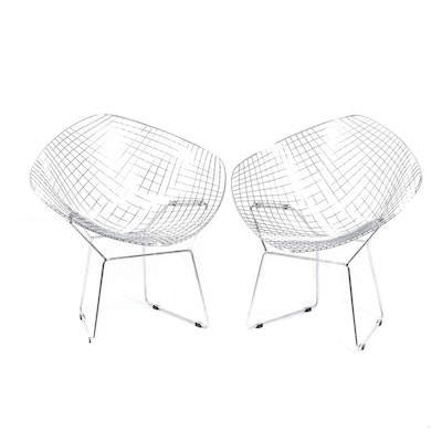 Chrome Finish Wire Diamond Chairs in the Style of Harry Bertoia for Knoll