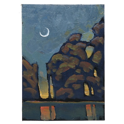 William Hawkins Nocturne Landscape Oil Painting