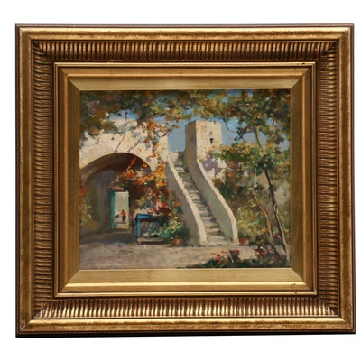 20th Century Oil Painting of Spanish Architecture with Pathway