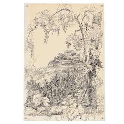 Late 20th Century Landscape Ink Drawing
