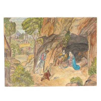 Inez Hess Folk Drawing of the Nativity