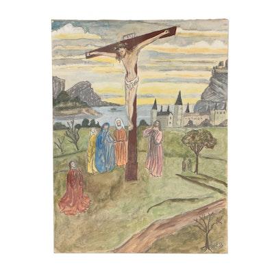 Inez Hess Folk Mixed Media Painting of the Crucifixion