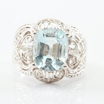 Sterling Silver 5.06 CT Aquamarine Ring