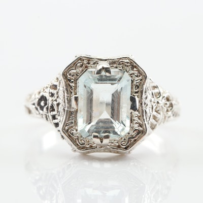 Sterling Silver 1.55 CT Aquamarine Ring