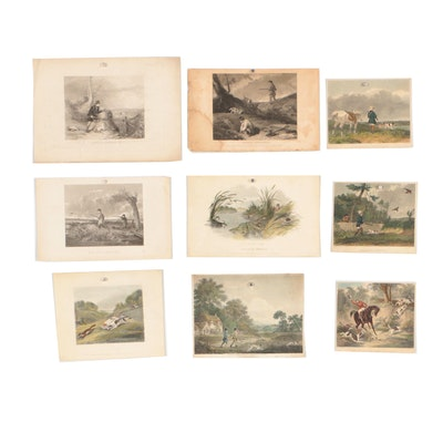 Late 19th Century Hand-Colored Engravings of Hunting Scenes