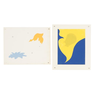 "William Downing Abstract Serigraphs ""No. 55"" and ""No. 65"""